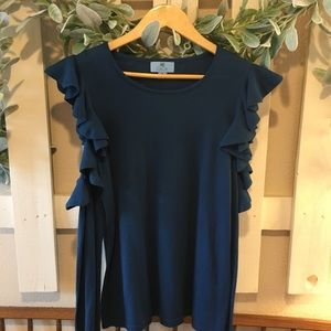 Open shoulder, ruffled long sleeve blue top